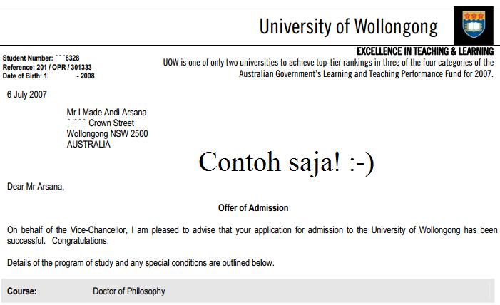 Offer of Admission dari Uni of Wollongong