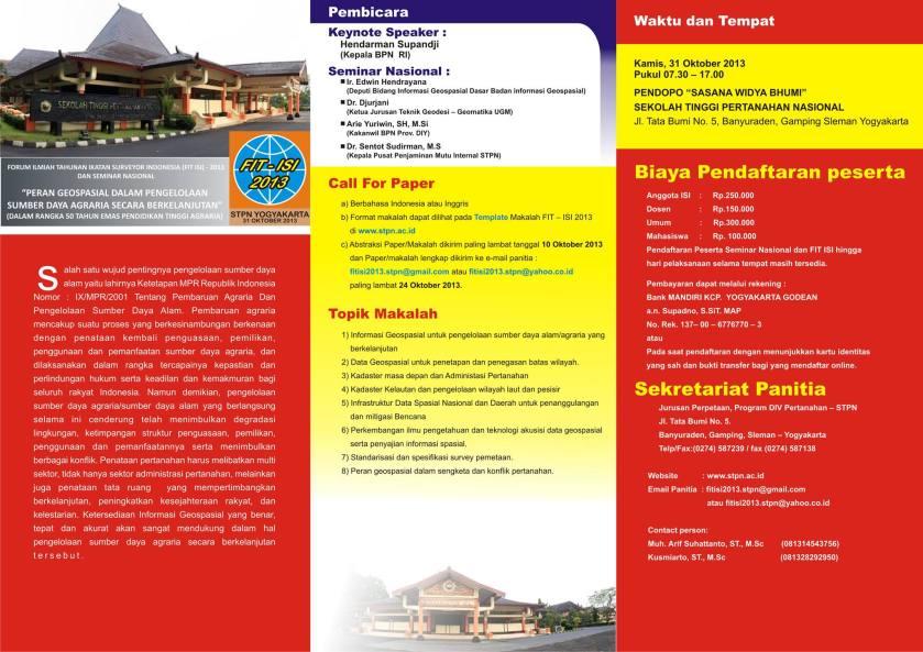 Brosur FIT ISI 2013 di Yogyakarta